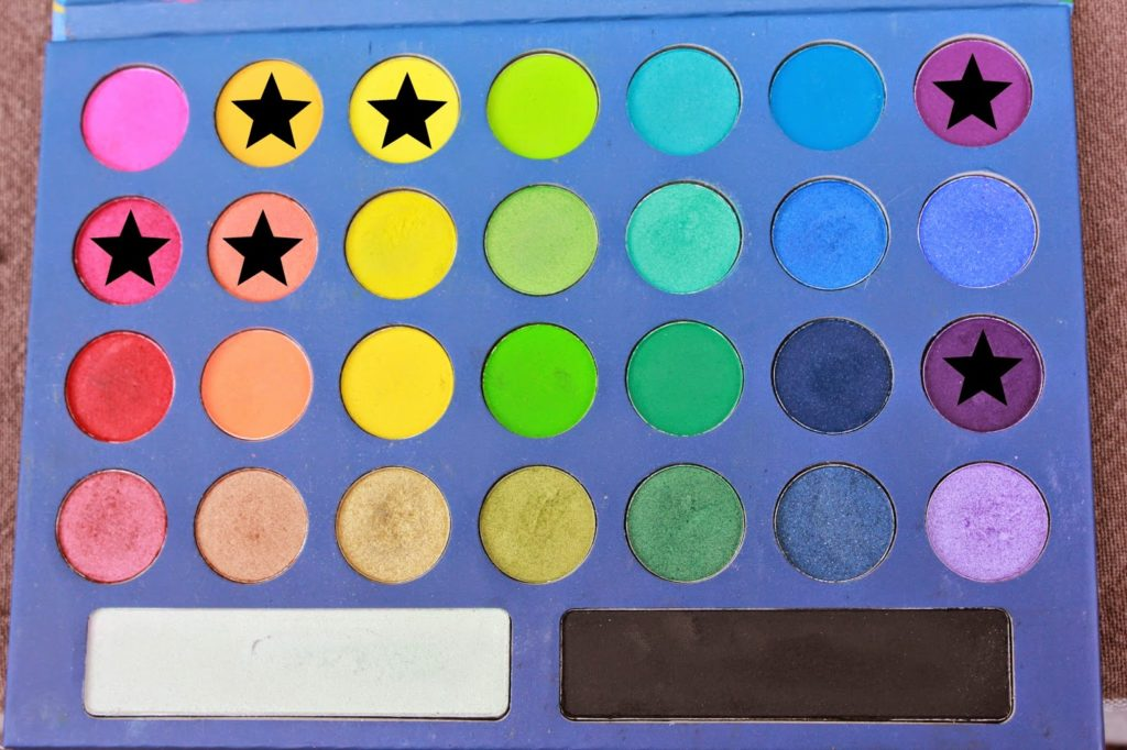 Couleurs de la palette take me to brazil bh cosmetics