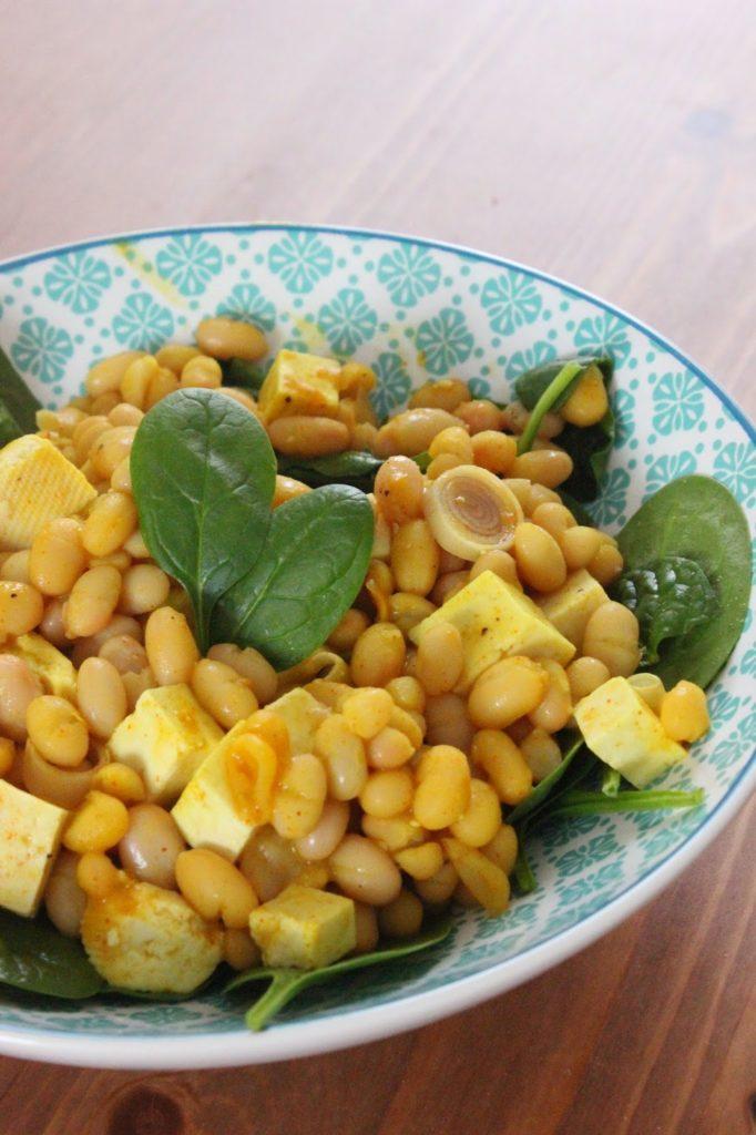 haricots blancs aux épinards et à la citronnelle