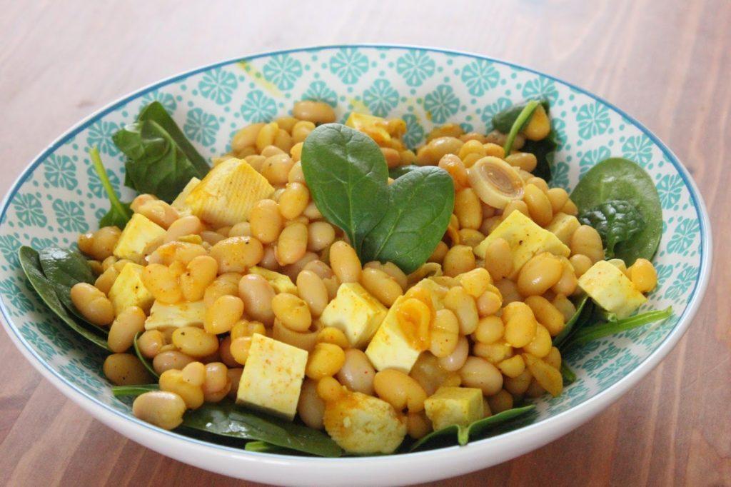 haricots blancs aux épices et au tofu