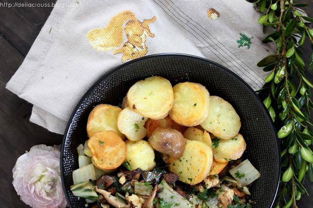 pommes de terre et champignons