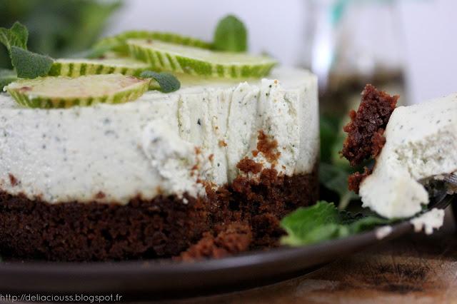 Cheesecake citron vert et menthe vegan