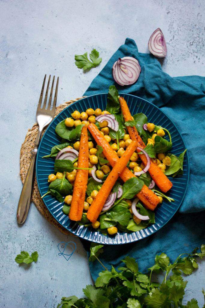 Recette de carottes rôties aux pois chiches
