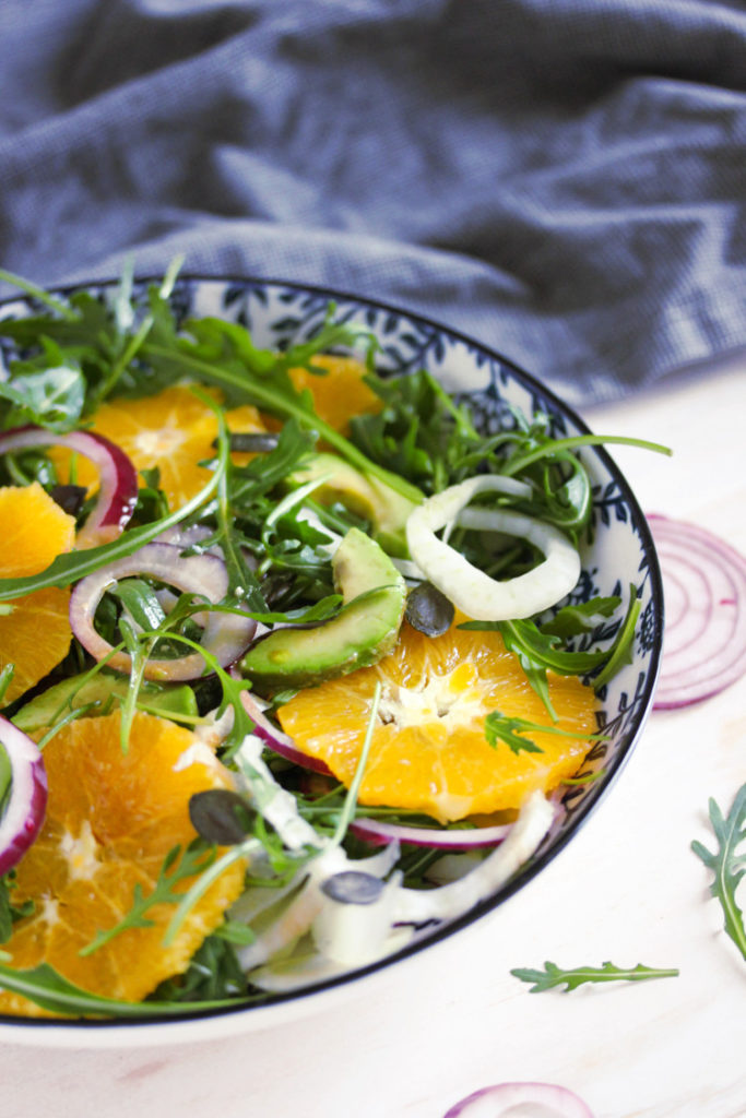 Salade d'entrée fenouil, avocat et orange