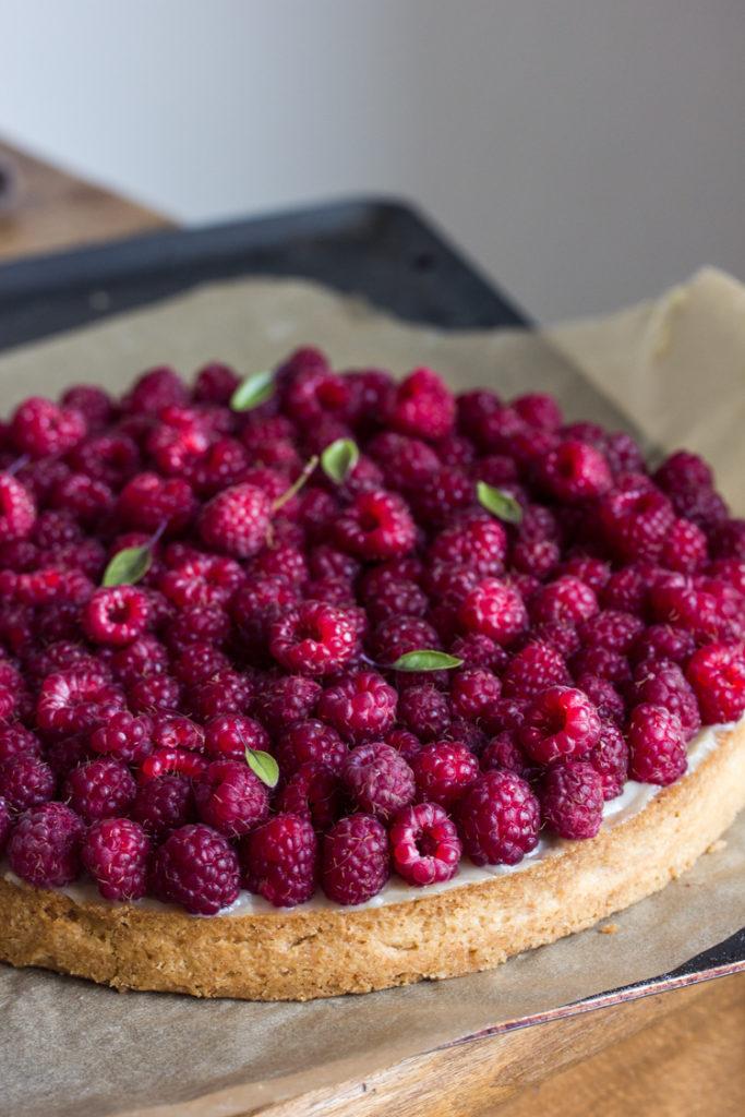 Recette de tarte aux framboises vegan