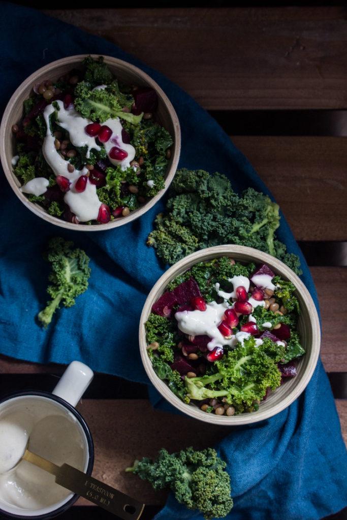 Kale aux lentilles et aux betteraves