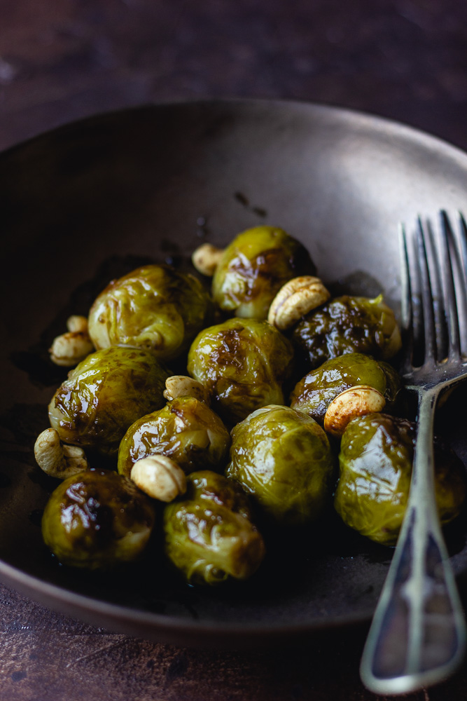 Choux de Bruxelles caramélisés au vinaigre balsamique