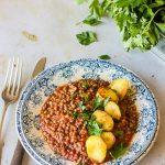 Lentilles cuisinées à la tomate