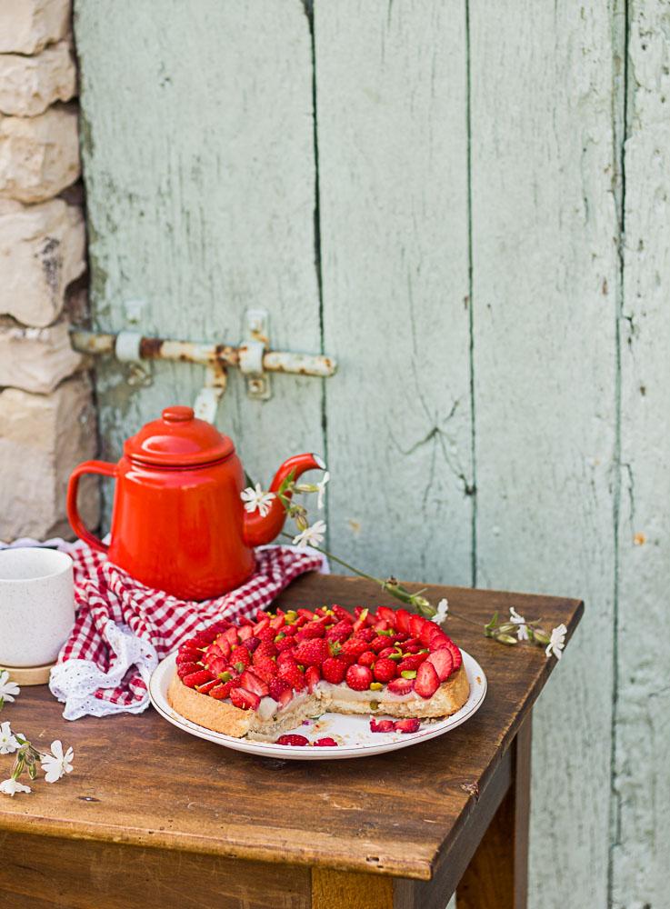 Tarte au fraises végétalienne