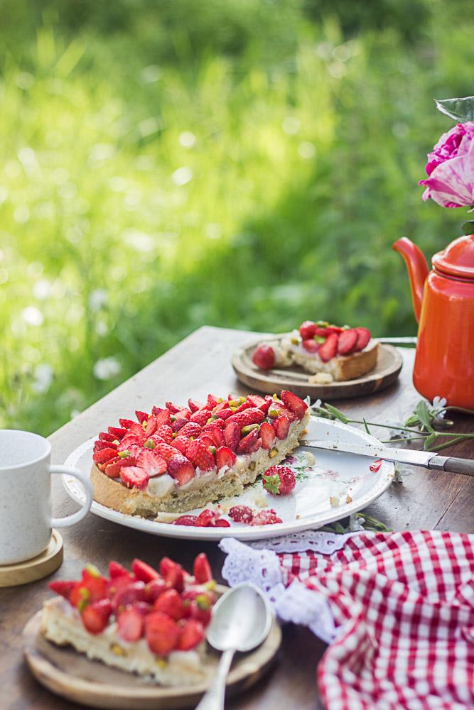 Tarte aux fraises et à l'amande