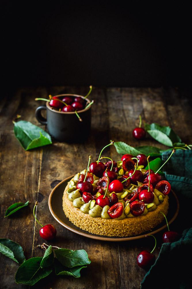 Tarte pistache et cerise