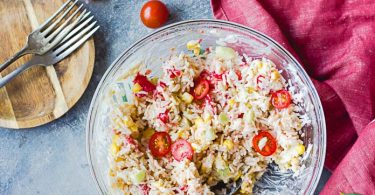 Recette de salade de riz vegan