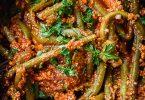 Haricots verts à la sauce tomate et au tofu