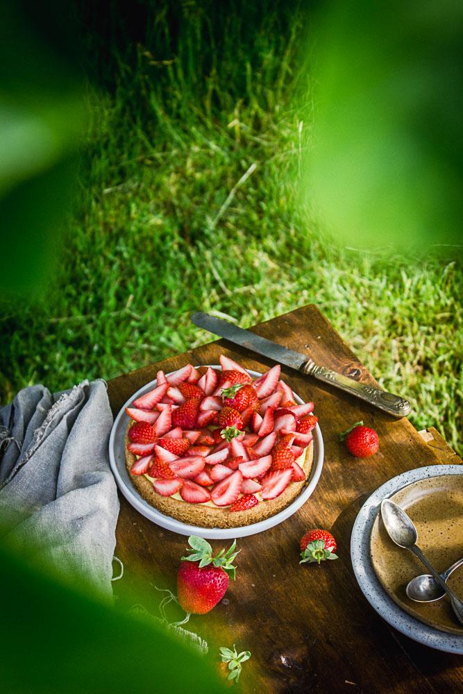 Tarte fraise et citron sans oeufs