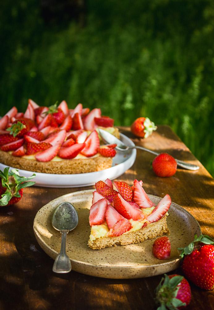 Tarte aux fraises sans oeufs