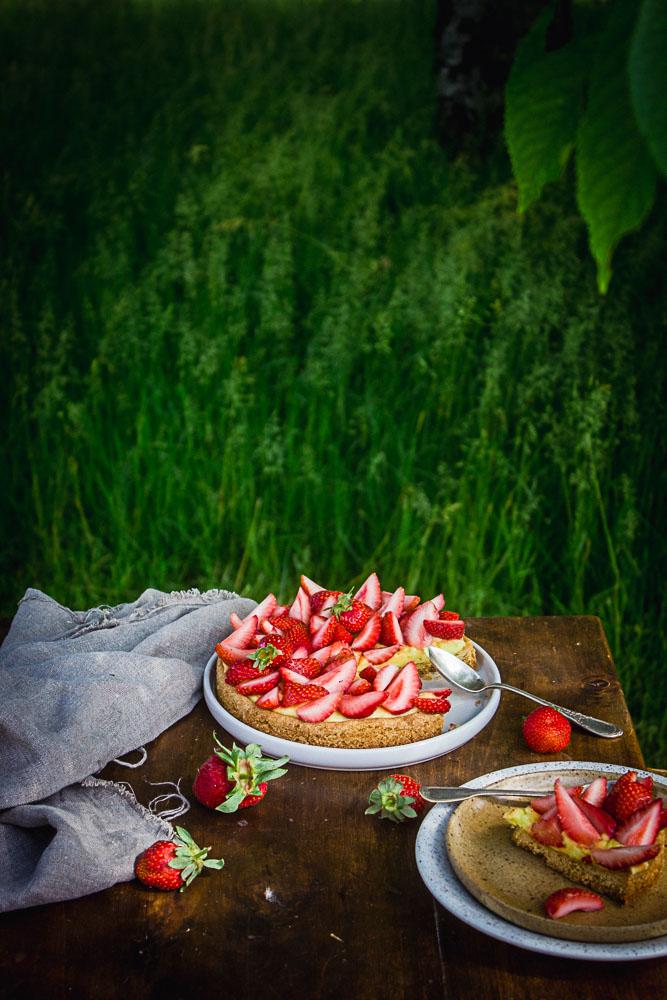 Tarte citron et fraise sans oeufs