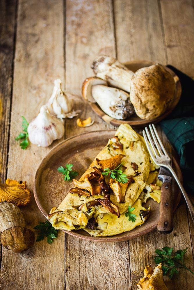 Omelette vegan aux champignons