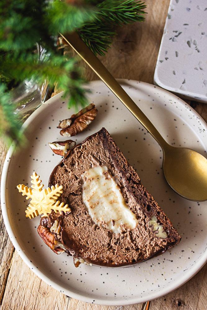 Bûche végétalienne chocolat et vanille