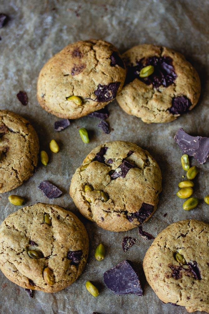 Cookies vegan à la pistache et au chocolat
