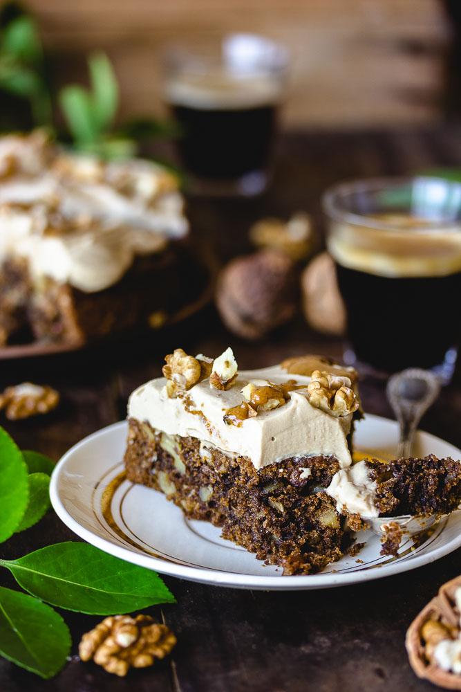 Gâteau noix et café sans oeufs