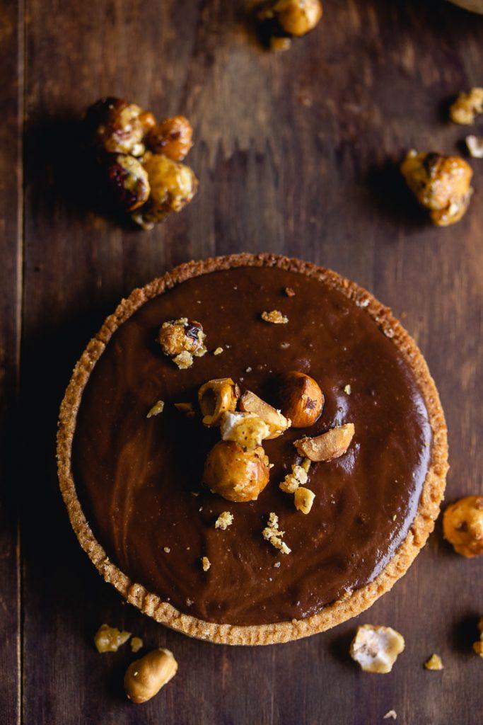Tarte praliné et chocolat sans oeufs