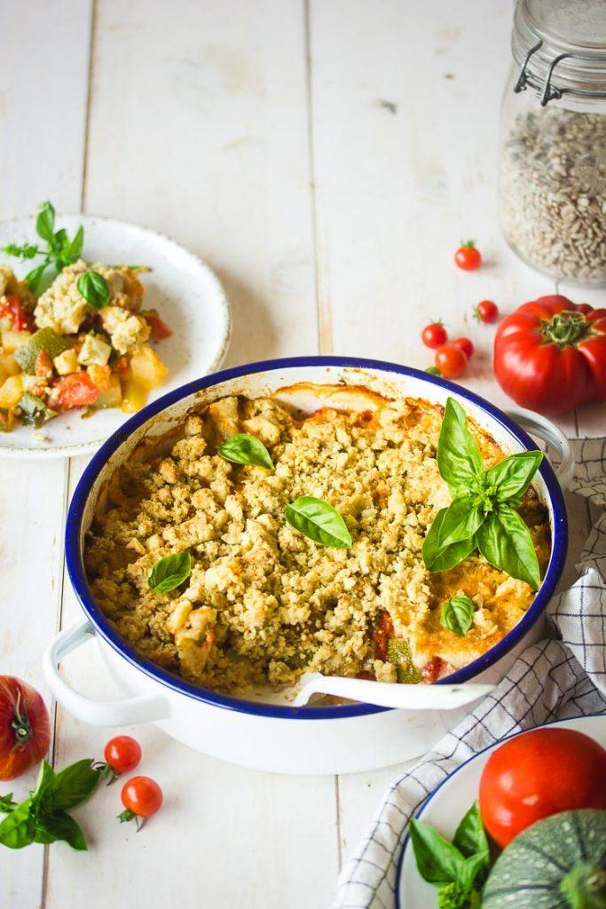 Crumble de courgettes à l'huile d'olive