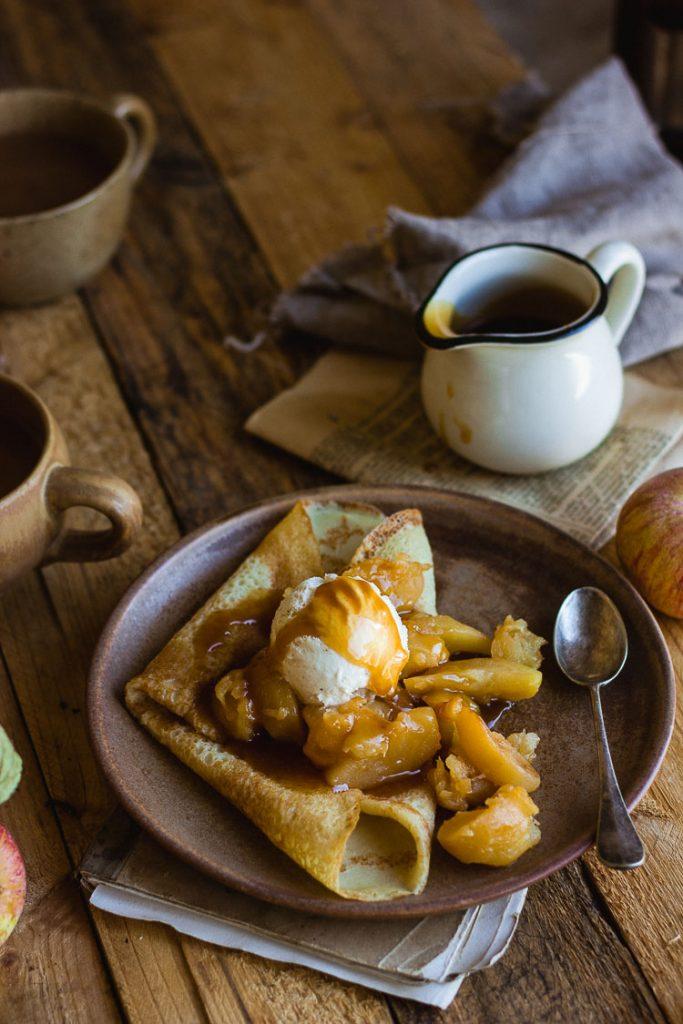 Crêpe pommes et caramel sans lactose