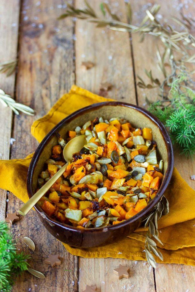 Courge butternut et fenouil rôtis