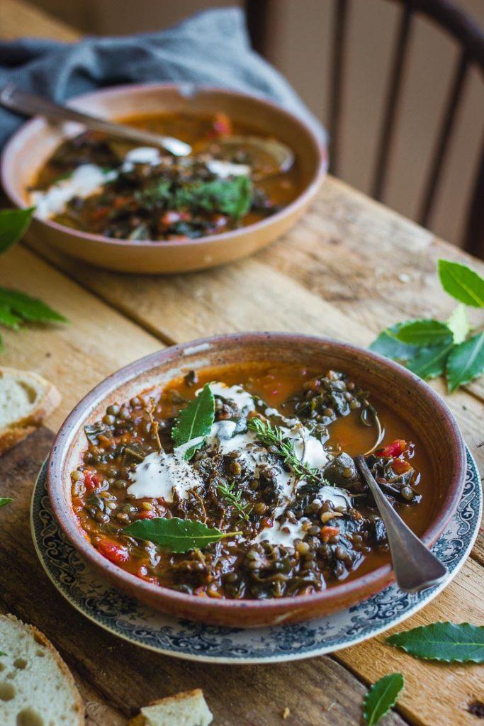 Lentilles à la tomate et aux épinards