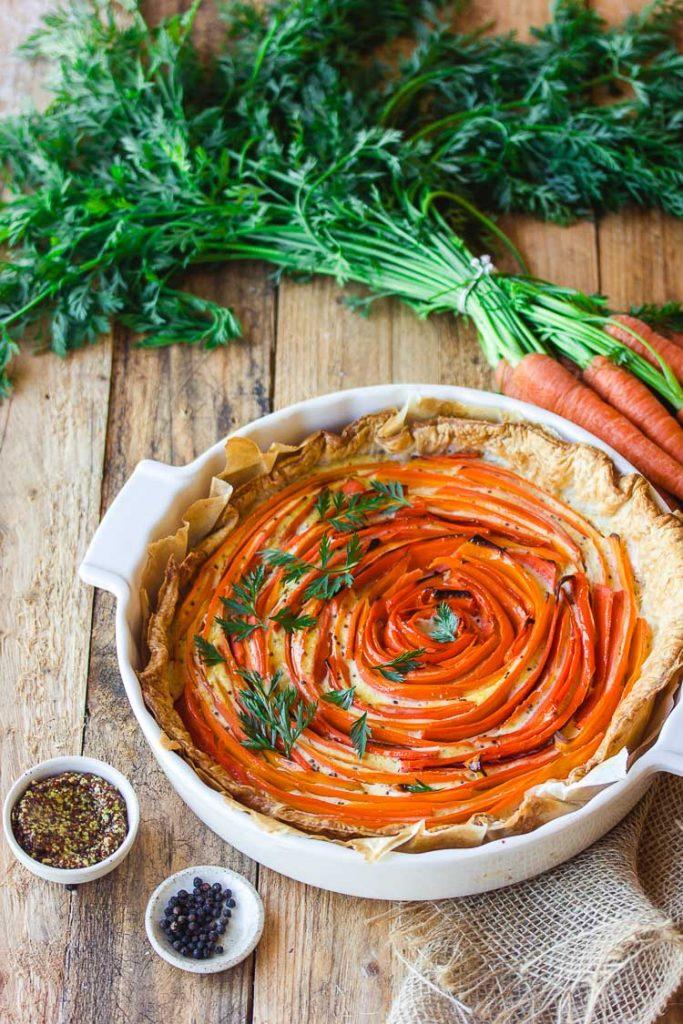 Tarte à la carotte et à la moutarde