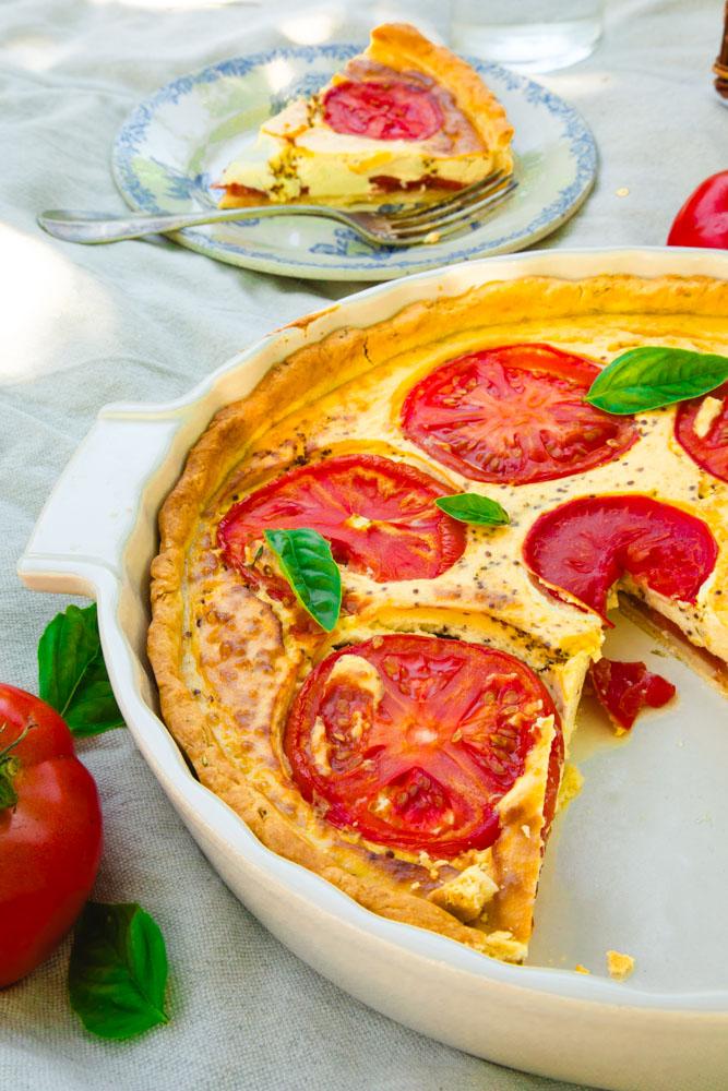 Quiche à la tomate sans oeufs